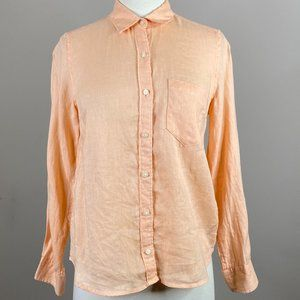 Gap Linen Button Down Petite XS Solid Orange